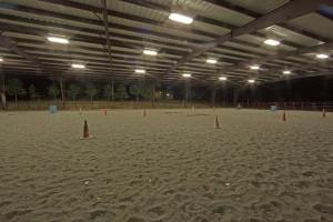 Indoor horse arena with lights