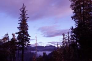 Low clouds drape the Klamath River Dude Ranch