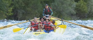 family rafting at California's dude ranch