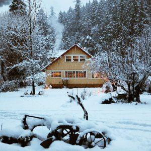 snowfall on mountain home